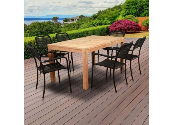 Amazonia Oosterdam 7 Piece Teak Rectangular Patio Dining Set