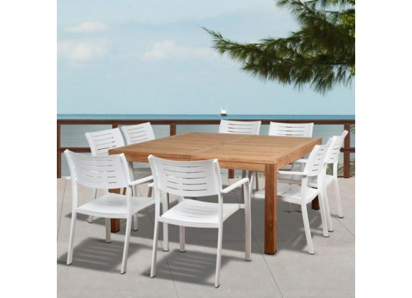 Amazonia Noordam 9 Piece Teak Square Patio Dining Set