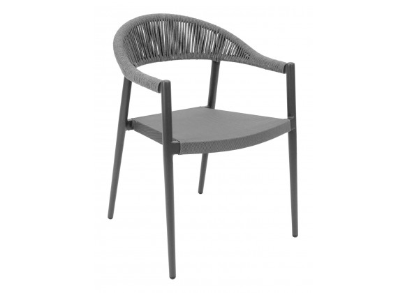 Powder Coated Aluminum Frame Arm Chair W/ Textilene Seat and Polypropylene Back - RP-01A - Front