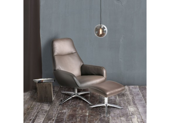 Camillo Xl Chair With Footrest And Adjustable Headrest In Yeti Dark Gray Fabric - Lifestyle