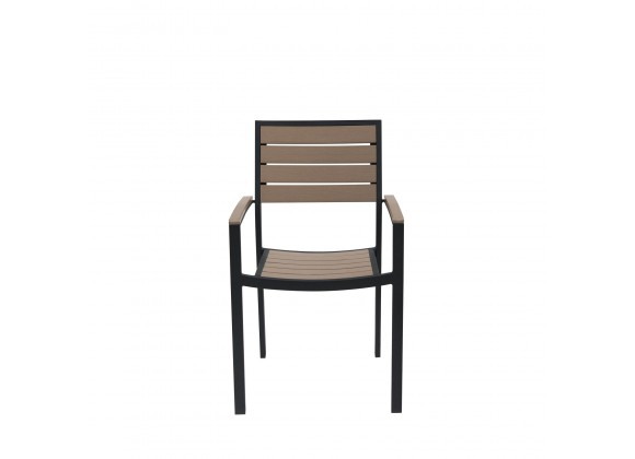 Napa Dining Arm Chair - Black Frame - Gray Seat and Back - Front