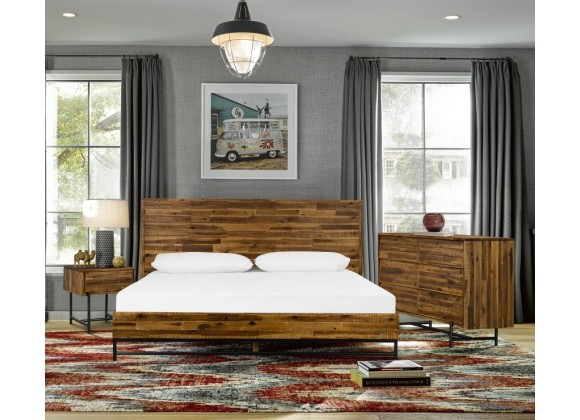 Cusco 3 Piece Acacia King Bed and Nightstands Bedroom Set  - Lifestyle