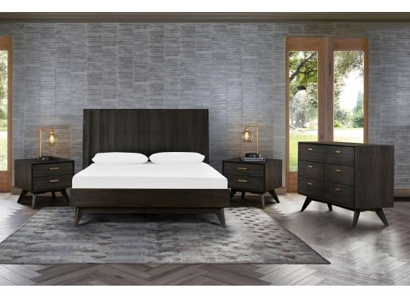 Loft 4 Piece Acacia King/Queen Bedroom Set with Dresser and Nightstands