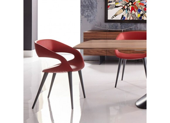 Shape Chair in Red PU With Wood Legs - Lifestyle