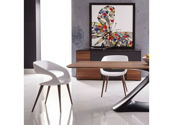 Shape Chair In White PU With Wood Legs