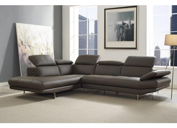 Pandora Sectional In Dark Gray Italian Leather
