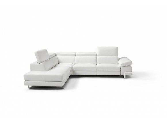 Livio Sectional Large In White - Front with Headrest Open