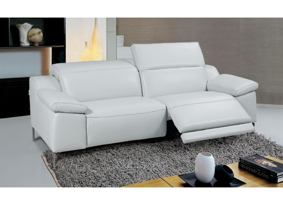 Sofia Electric Motion Sofa With Manual Adjustable Neck Rest Cushions In White