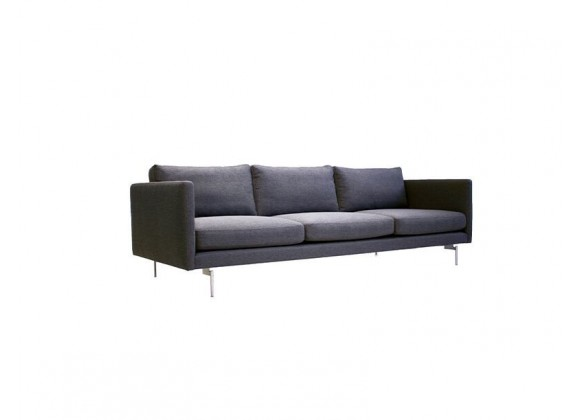 Taut 3 Seater Sofa Dark Grey Tweed Fabric with Brushed Stainless Steel Legs