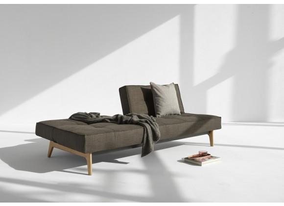 Splitback Elk Sofa inMixed Dance Gray Fabric - Half Opened
