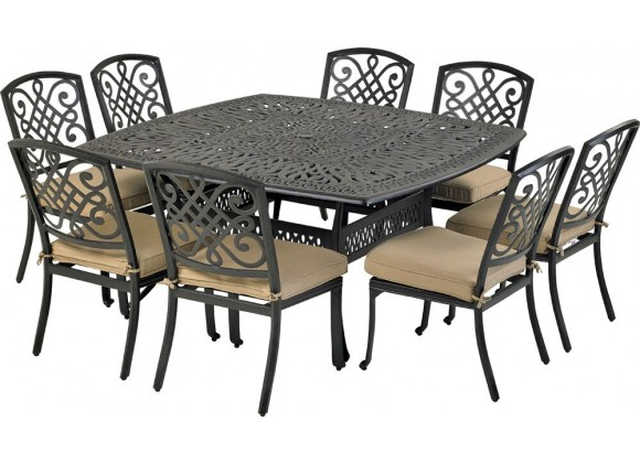 "Bridgetown 9-Piece Dining Set - 8 Armless Chairs with 64"" Square Dining Table"