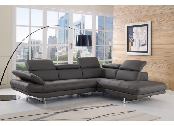 Pandora Sectional With Chaise On Left - Lifestyle -  Dark Grey