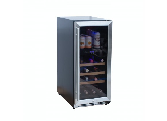 """Summerset Grills 15"""" Outdoor Rated Dual Zone Wine Cooler - Angled View"""