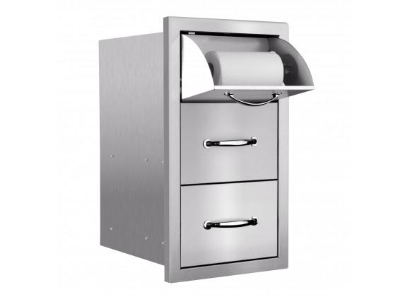"Summerset Grills 17"" Vertical 2-Drawer & Paper Towel Holder Combo Masonry"