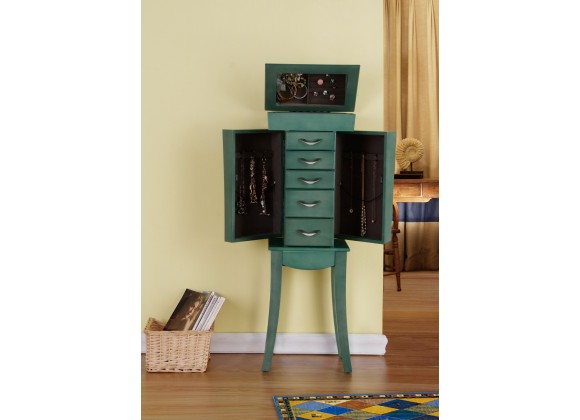 Paris Jewelry Armoire - Sea Green - Opened
