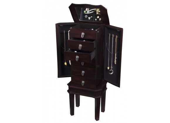 Bedford Jewelry Armoire - Brown - Drawers Opened
