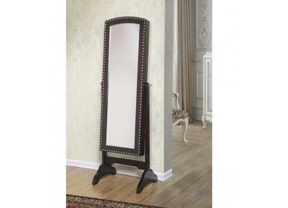 Abby Classic Long Cheval Mirror Jewelry Cabinet Storage Armoire