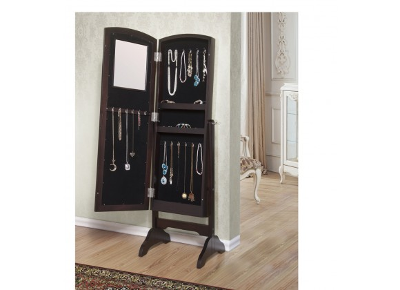 Abby Jewelry Armoire Cheval Mirror - Open