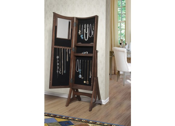 Bedford Classic Long Cheval Mirror Jewelry Cabinet Storage Armoire - Open