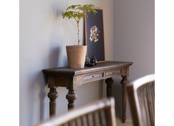 Solid Teak Console Table - Angled View
