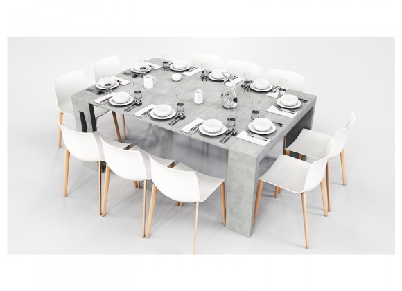 Casabianca Elasto Melamine Extendable Console / Dining Table - Gray Cement