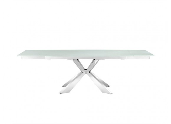 ICON - MOTORIZED Extendable Stainless Steel / White Temp Glass Dining Table