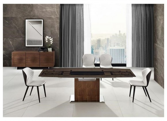 OLIVIA - MOTORIZED Extendable Walnut / Smoked Clear Glass Dining Table