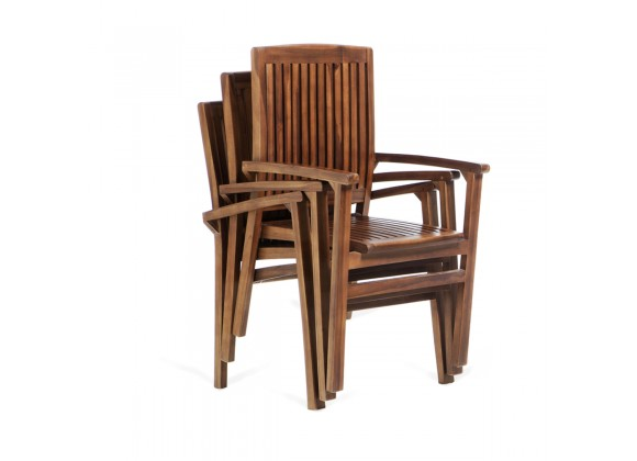 All Things Cedar 5-Piece Butterfly Stacking Chair Set - Stacked