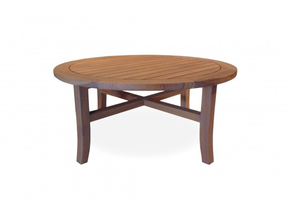 "Teak 40"" Round Tapered Leg Cocktail Table in Antique Gray"