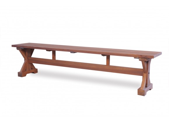 """Teak 78"""" Dining Bench in Antique Gray - Angled"""
