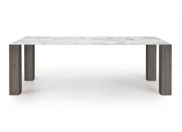 Thin Extension Dining Table In White And Gray