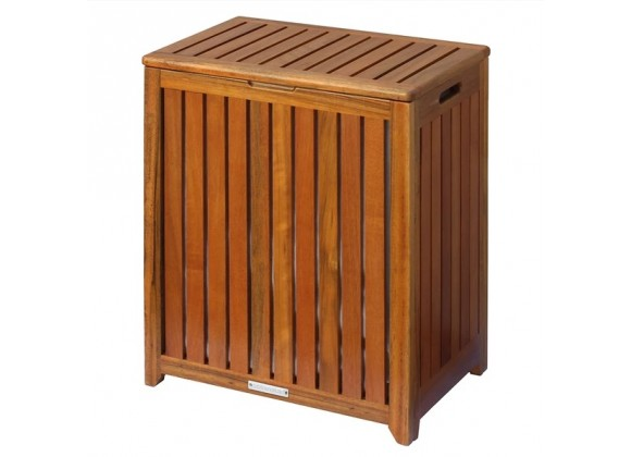 Oceanstar Solid Wood Spa Hamper - Angled