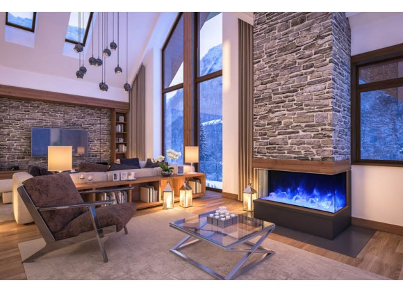 """60"""" 3 Sided Glass Electric Fireplace Built-in Only - Lifestyle 1"""