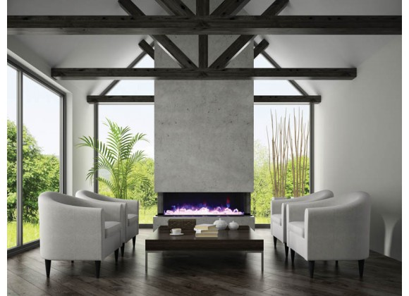 """Amantii 70"""" 3 Sided Glass Electric Fireplace Built-in Only - Lifestyle"""