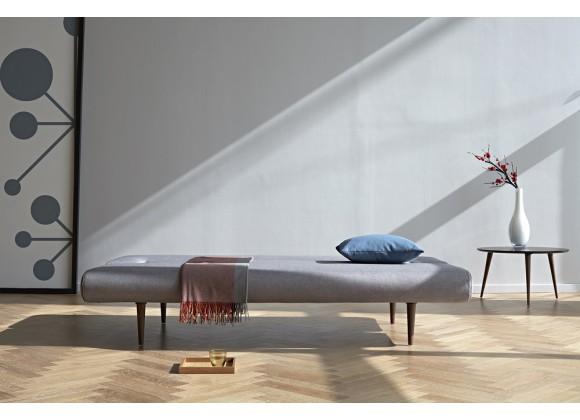 Unfurl Sofa in Dark Wood Legs and Soft Mustard Flower