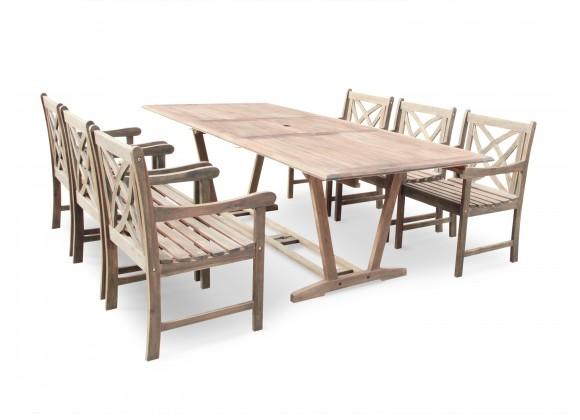 Renaissance Eco-friendly 7-piece Outdoor Hand-scraped Hardwood Dining Set