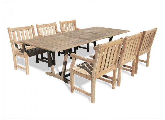 Renaissance Eco-friendly 7-piece Outdoor Hand-scraped Hardwood Dining Set with Rectangle Extention Table and Arm Chairs