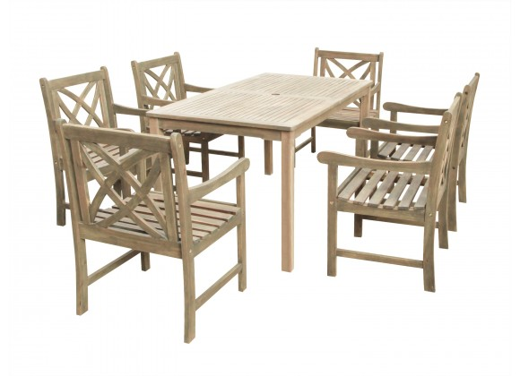 Renaissance Eco-friendly 7-piece Outdoor Hand-scraped Hardwood Dining Set with Rectangle Table and Arm Chairs