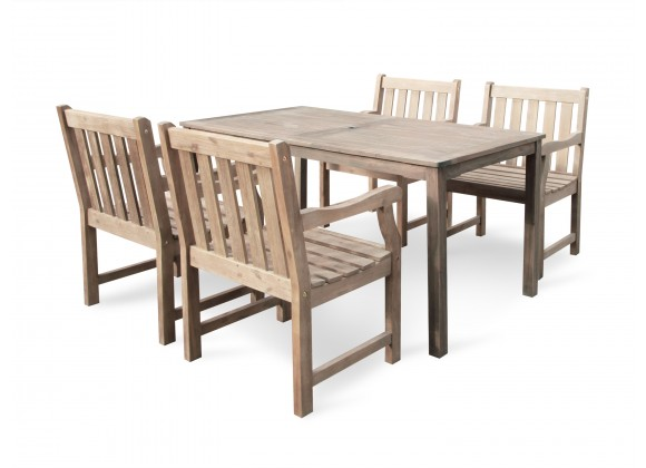 Renaissance Eco-friendly 5-piece Outdoor Hand-scraped Hardwood Dining Set with Rectangle Table and Arm Chairs