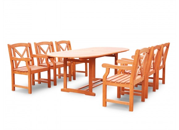 Malibu Eco-friendly 7-piece Outdoor Hardwood Dining Set with Oval Extention Table and Arm Chairs - Angled
