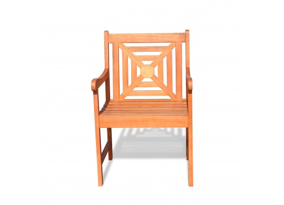 Malibu Eco-friendly Outdoor Hardwood Garden Arm Chair - Front