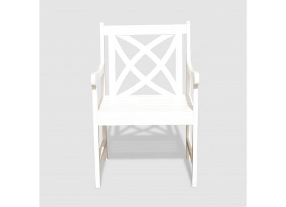 Bradley Eco-friendly Outdoor White Hardwood Garden Arm Chair - Front