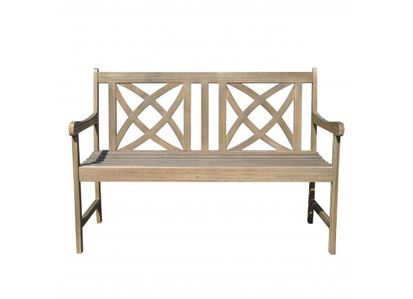 Renaissance Eco-friendly 4-foot Outdoor Hand-scraped Hardwood Garden Bench - Front