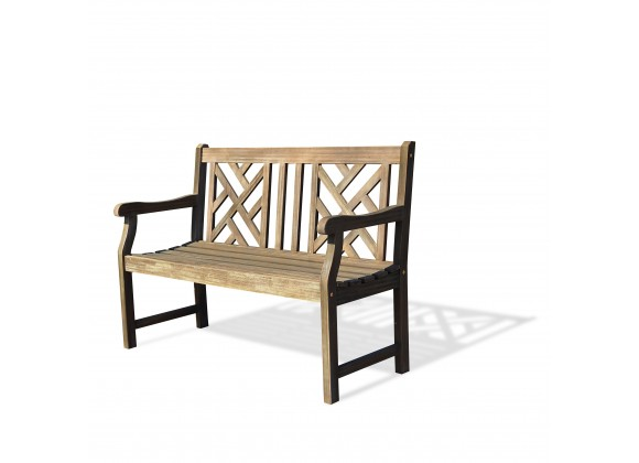 Renaissance Eco-friendly 4-foot Outdoor Hand-scraped Hardwood Garden Bench - Angled