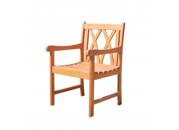 Malibu Eco-friendly Outdoor Hardwood Garden Arm Chair - Angled
