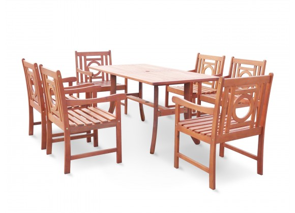 Malibu Eco-friendly 7-piece Outdoor Hardwood Dining Set with Rectangle Table and Arm Chairs