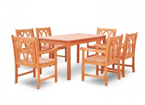 Malibu Eco-friendly 7-piece Outdoor Hardwood Dining Set with Rectangle Table and Arm Chairs - Angled