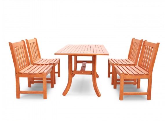 Malibu Eco-friendly 5-piece Outdoor Hardwood Dining Set with Rectangle Table and Armless Chairs - Front