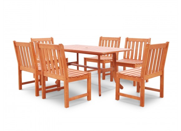 Malibu Eco-friendly 7-piece Outdoor Hardwood Dining Set with Rectangle Table and Armless Chairs - Angled