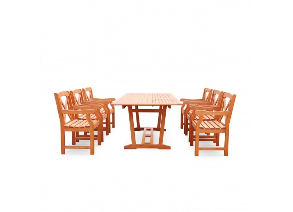 Malibu Eco-friendly 7-piece Outdoor Hardwood Dining Set with Rectangle Extention Table and Arm Chairs - Front